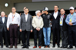 Jean Todt, FIA President; Enrique Pena Nieto, Mexican President; Bernie Ecclestone, Sahara Force India F1; Carlos Slim Domit, Chairman of America Movil
