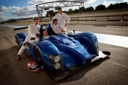 Olivier Panis, Nicolas Lapierre, Stéphane Ortelli and Soheil Ayari pose with the Courage-ORECA LC70 Judd