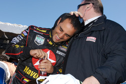 Juan Pablo Montoya and Chip Ganassi celebrate win