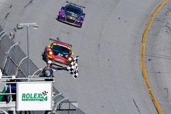 #86 Farnbacher Loles Porsche GT3 Cup: Jorg Bergmeister, Wolf Henzler, Leh Keen, Eric Lux, Sascha Maassen, #40 Hyper Sport Mazda RX-8: Patrick Dempsey, Charles Espenlaub, Joe Foster, Romeo Kapudija, Scott Maxwell