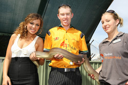 Jade MacRae, Soul Singer, with John Martin, driver of A1 Team Australia