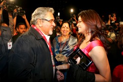 Vijay Mallya, Force India F1, greets guests at the launch ceremony