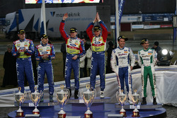 Podium: winners Jari-Matti Latvala and Miikka Anttila, second place Mikko Hirvonen and Jarmo Lehtinen, third place Gigi Galli and Giovanni Bernacchini