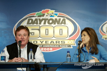 Unveiling of the commemorative car to celebrate the 10th anniversary of Dale Earnhardt's Daytona 500 win: Richard Childress and Teresa Earnhardt