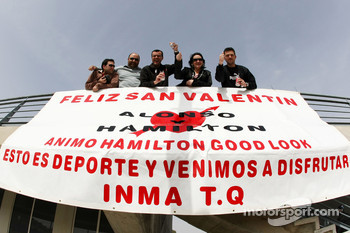 Fans have a banner in the crowd about Lewis Hamilton, McLaren Mercedes and Fernando Alonso, Renault F1 Team