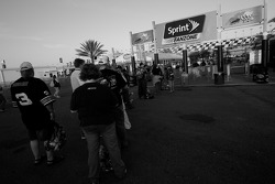 Fans arrive at the track early in the morning