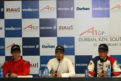Press Conference: Filipe Albuquerque, driver of A1 Team Portugal, Neel Jani, driver of A1 Team Switzerland, Loic Duval, driver of A1 Team France