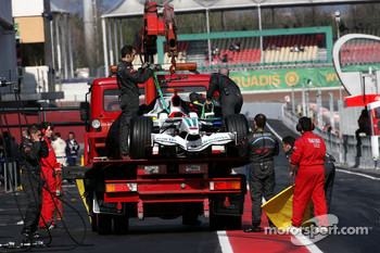 Jenson Button, Honda Racing F1 Team, RA108 after engine failure