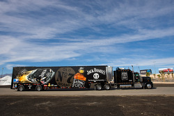 The Jack Daniels team hauler makes its' way into the Las Vegas Motor Speedway