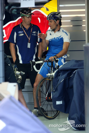 Mark Webber, Red Bull Racing in the garage on his bike