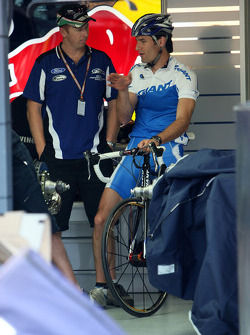 Mark Webber, Red Bull Racing in the garage on his bike