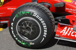 Bridgestone Potenza tyre on a Ferrari