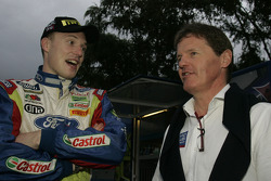 Jari-Matti Latvala with Malcom Wilson, Team Manager Ford