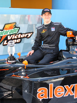 Race winner Dillon Battistini celebrates