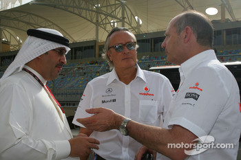 Sheikh Ahmed bin Mohammed Al Khalifa, Mansour Ojeh, Commercial Director of the TAG McLaren and Ron Dennis, McLaren, Team Principal, Chairman