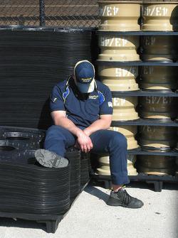 A Goodyear employee takes a nap