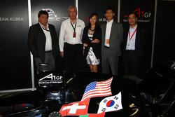 Tony Teixeira, A1GP Chairman, with David Clare, the new A1 Team Korea Seat Holder Joshua Kim and Harry Lee