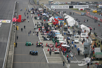 Cars are brought to the starting grid
