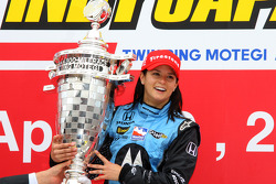 Podium: race winner Danica Patrick celebrates