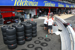 McLaren Mercedes, prepare their tyres