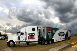 Dale Earnhardt Jr.'s #88 Amp/National Guard hauler makes it's entrance onto the grounds at Talladega Superspeedway