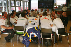 Teams meeting, All team principals and key figures with Bernie Ecclestone in discussion