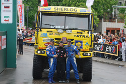 Podium: truck third place Ales Loprais, Milan Holan and Ladislav Lala