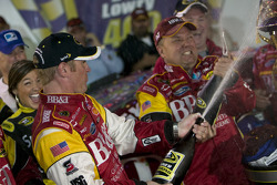 Victory lane: race winner Clint Bowyer celebrates with champagne