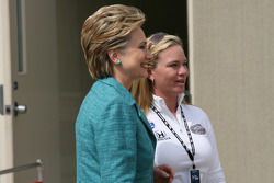 2008 Presidential Candidate Hillary Rodham Clinton talks with Sarah Fisher