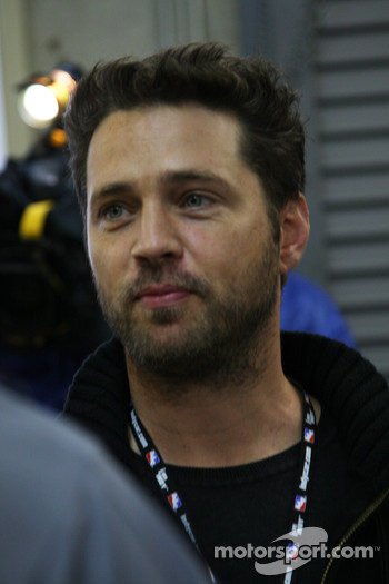 Jason Priestley during co-owner announcement in garage area