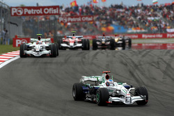 Jenson Button, Honda Racing F1 Team leads Rubens Barrichello, Honda Racing F1 Team