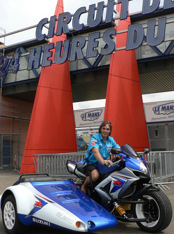 Chris Vermeulen poses at the entrance of the Le Mans Circuit