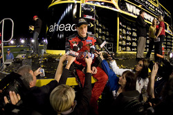 Victory lane: race winner Kasey Kahne speaks to the media