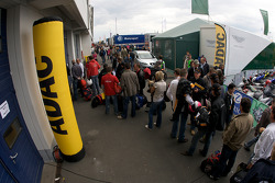 Drivers line up at registration