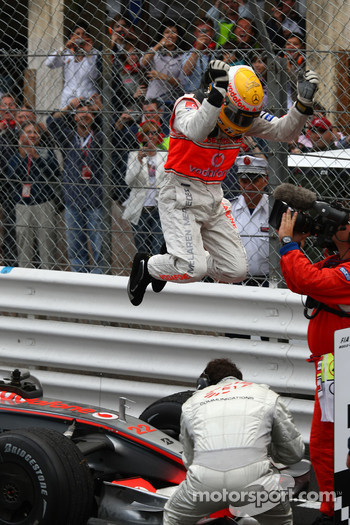1st place Lewis Hamilton, McLaren Mercedes jumps from his car