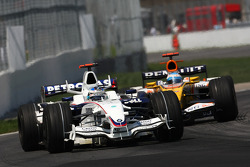 Nick Heidfeld, BMW Sauber F1 Team, F1.08 and Fernando Alonso, Renault F1 Team, R28