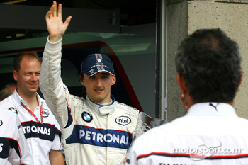BMW Sauber F1 team celebrations: race winner Robert Kubica