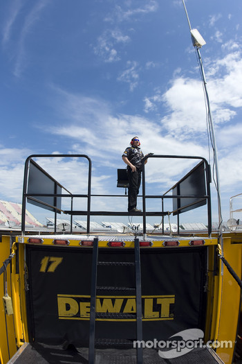 Crew Chief, Chip Bolin, watches a practice session