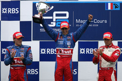 Podium: race winner Sebastien Buemi, second place Yelmer Buurman, third place Luca Filippi