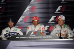 Press conference: race winner Lewis Hamilton with second place Nick Heidfeld and third place Rubens Barrichello