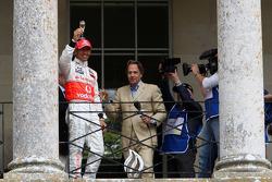 Lewis Hamilton, McLaren Mercedes on the balcony of Goodwood house
