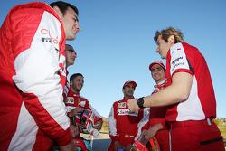 From left to right: Davide Rigon, AF Corse, Andrea Bertolini, Ferrari test driver, Antonio Fuoco, Ferrari test driver, Marc Gene, Ferrari test driver, Esteban Gutierrez, Ferrari test driver