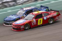 Harrison Rhodes, JD Motorsports Chevrolet and Kyle Larson, Hscott Motorsports Chevrolet