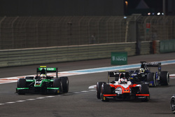 Rene Binder, MP Motorsport leads Oliver Rowland, Status Grand Prix and Nathanael Berthon, Team Lazarus