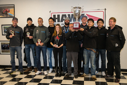 Overall winner #45 Flying Lizard Motorsports Audi R8 LMS: Darren Law, Tomonobu Fujii, Johannes van Overbeek, Guy Cosmo