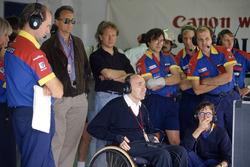 Adrian Newey, left, and Frank Williams watch the race action