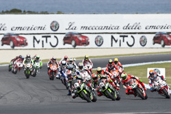 Jonathan Rea, Kawasaki Racing Team, Tom Sykes, Kawasaki Racing Team, Davide Giugliano, Aruba.it Racing - Ducati Team and Michael van der Mark, Honda WSBK Team
