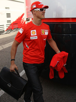 Michael Schumacher,  Scuderia Ferrari arrives at the track