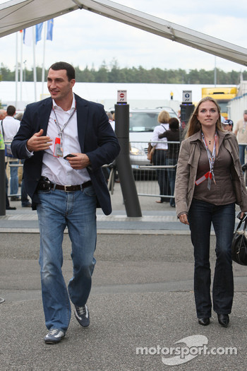 Wladimir Klitschko arrives at the track side