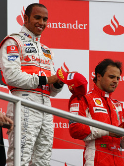Podium: race winner Lewis Hamilton, third place Felipe Massa